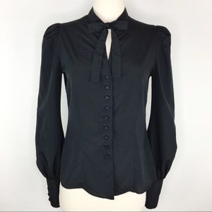 Tom Ford Italy puff sleeve tie neck button blouse